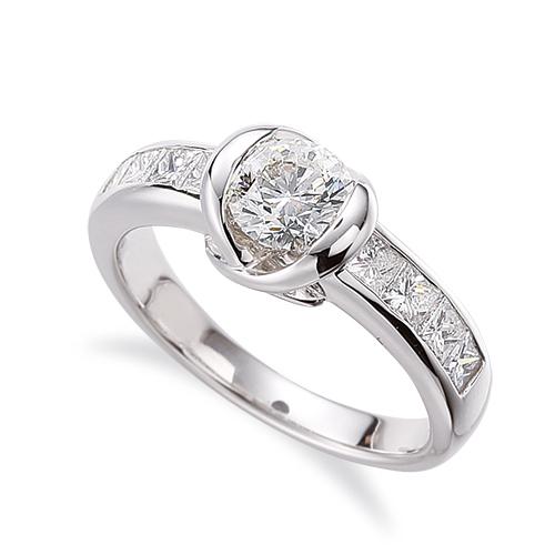 指輪 18金 ホワイトゴールド 天然石 バゲットメレのサイド一文字リング 主石の直径約5.2mm レール留め|K18WG 18k 貴金属 ジュエリー レディース メンズ