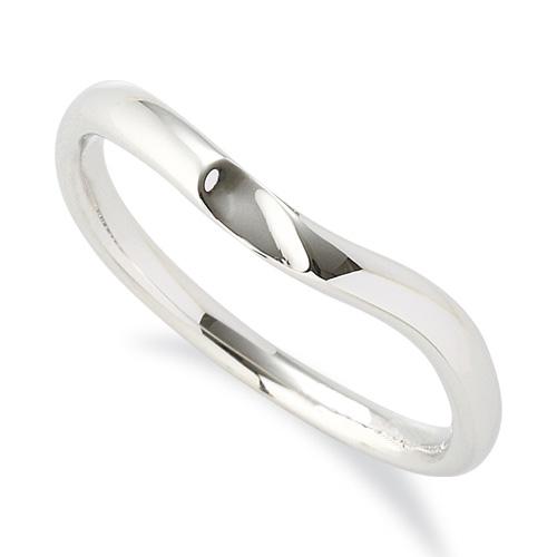 指輪 18金 ホワイトゴールド 窪みのあるV字リング 幅2.4mm|K18WG 18k 貴金属 ジュエリー レディース メンズ