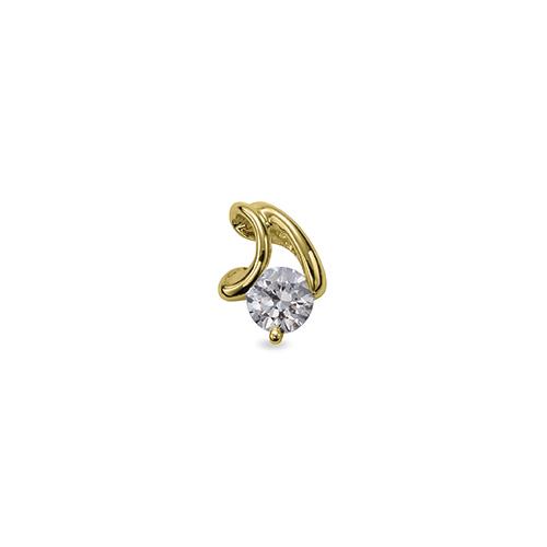 ペンダントトップ 18金 イエローゴールド 天然石 V字ラインの一粒ペンダント 主石の直径約5.2mm レール留め ペンダントヘッドのみ|K18YG 18k 貴金属 ジュエリー レディース メンズ