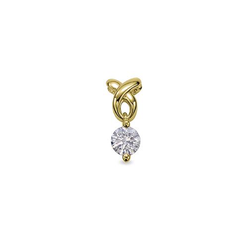 ペンダントトップ 18金 イエローゴールド 天然石 ウェーブラインの一粒ペンダント 主石の直径約3.8mm 二本爪留め ペンダントヘッドのみ|K18YG 18k 貴金属 ジュエリー レディース メンズ