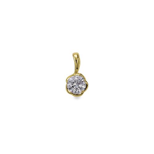 ペンダントトップ 18金 イエローゴールド 天然石 花モチーフの一粒ペンダント 主石の直径約4.4mm ペンダントヘッドのみ|K18YG 18k 貴金属 ジュエリー レディース メンズ