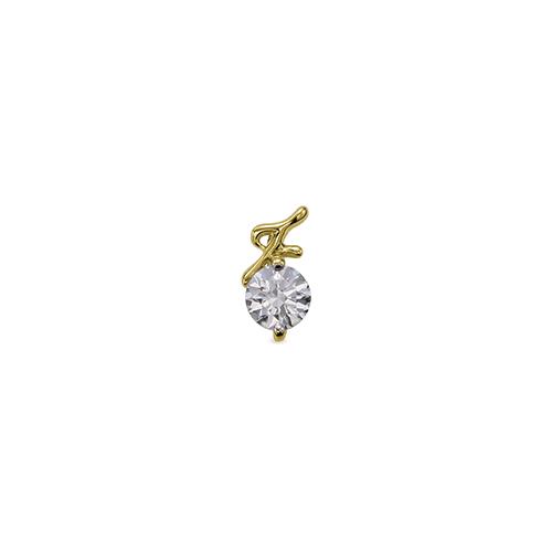 ペンダントトップ 18金 イエローゴールド 天然石 F イニシャルモチーフの一粒ペンダント 主石の直径約4.4mm ペンダントヘッドのみ K18YG 18k 貴金属 ジュエリー レディース メンズ