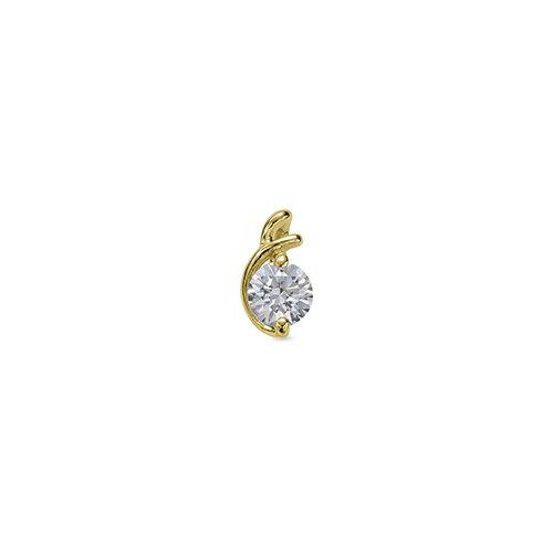 ペンダントトップ 18金 イエローゴールド 天然石 E イニシャルモチーフの一粒ペンダント 主石の直径約4.4mm ペンダントヘッドのみ|K18YG 18k 貴金属 ジュエリー レディース メンズ