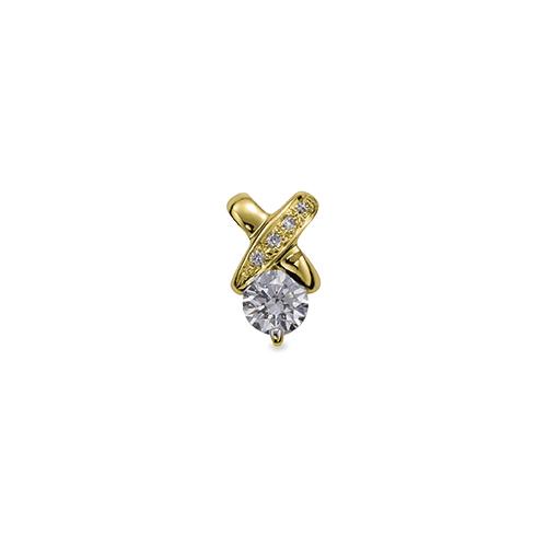 ペンダントトップ 18金 イエローゴールド 天然石 クロスモチーフのメレ付き一粒ペンダント 主石の直径約5.2mm ペンダントヘッドのみ|K18YG 18k 貴金属 ジュエリー レディース メンズ