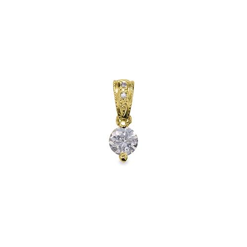 ペンダントトップ 18金 イエローゴールド 天然石 メレ付きバチカンの一粒ペンダント 主石の直径約3.8mm ミル打ちバチカン 二本爪留め ペンダントヘッドのみ|K18YG 18k 貴金属 ジュエリー レディース メンズ