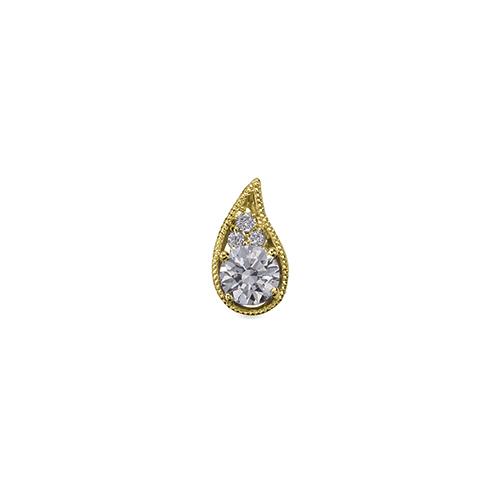 ペンダントトップ 18金 イエローゴールド 天然石 メレ付きのティアドロップ型一粒ペンダント 主石の直径約3.8mm ミル打ち 四本爪留め ペンダントヘッドのみ|K18YG 18k 貴金属 ジュエリー レディース メンズ
