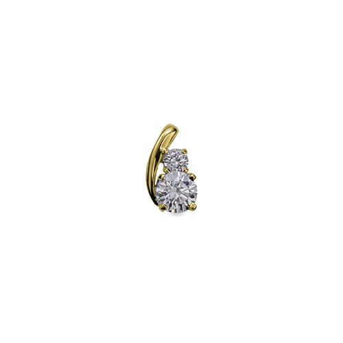 主石の種類が選べる、高級感が漂う18金と天然石のペンダントトップ ペンダントトップ 18金 イエローゴールド 天然石 ウェーブラインの二粒ペンダント 主石の直径約4.4mm 四本爪留め ペンダントヘッドのみ|K18YG 18k 貴金属 ジュエリー レディース メンズ