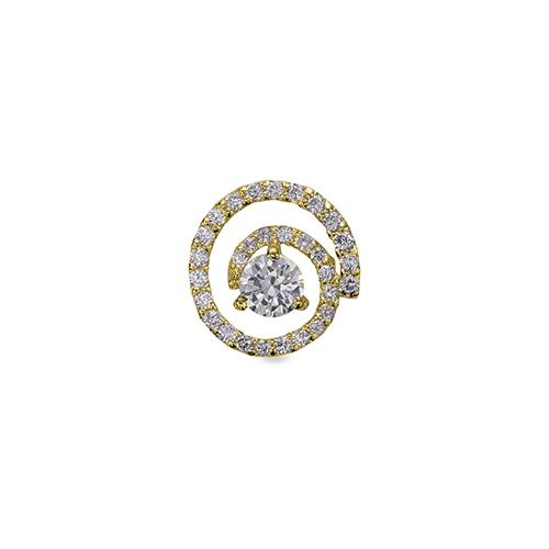 ペンダントトップ 18金 イエローゴールド 天然石 スパイラルモチーフにメレが並んだ一粒ペンダント 主石の直径約4.4mm 三本爪留め ペンダントヘッドのみ K18YG 18k 貴金属 ジュエリー レディース メンズ