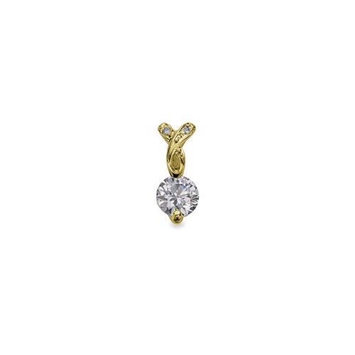 ペンダントトップ 18金 イエローゴールド 天然石 ウェーブラインのメレ付き一粒ペンダント 主石の直径約4.4mm 二本爪留め ペンダントヘッドのみ|K18YG 18k 貴金属 ジュエリー レディース メンズ