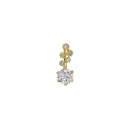 ペンダントトップ 18金 イエローゴールド 天然石 小花モチーフのメレが付いた一粒ペンダント 主石の直径約4.4mm 六本爪留め ペンダントヘッドのみ K18YG 18k 貴金属 ジュエリー レディース メンズ