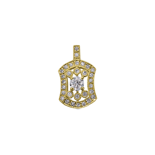 ペンダントトップ 18金 イエローゴールド 天然石 ミル打ちと透かしの取り巻きペンダント 主石の直径約3.0mm 四本爪留め ペンダントヘッドのみ|K18YG 18k 貴金属 ジュエリー レディース メンズ