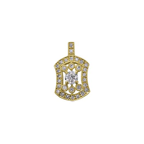 ペンダントトップ 18金 イエローゴールド 天然石 ミル打ちと透かしの取り巻きペンダント 主石の直径約3.8mm 四本爪留め ペンダントヘッドのみ|K18YG 18k 貴金属 ジュエリー レディース メンズ