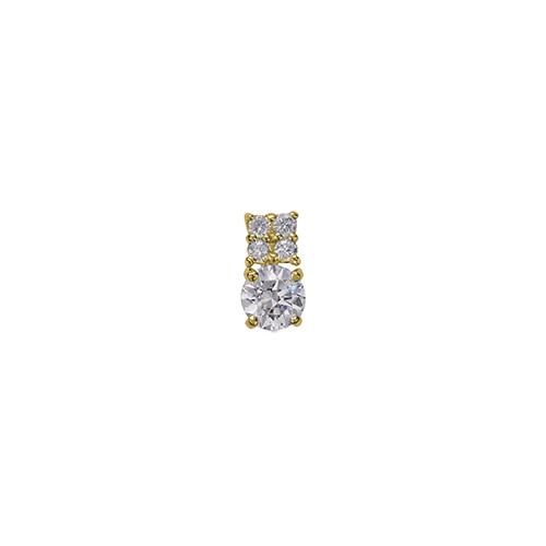 ペンダントトップ 18金 イエローゴールド 天然石 メレ付きバチカンの一粒ペンダント 主石の直径約4.4mm 四本爪留め ペンダントヘッドのみ|K18YG 18k 貴金属 ジュエリー レディース メンズ