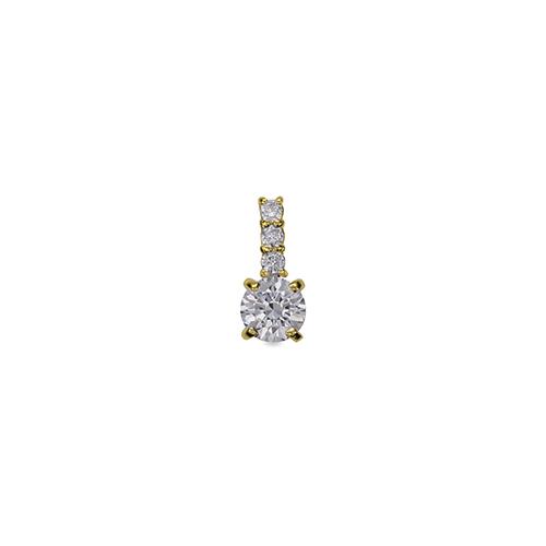 ペンダントトップ 18金 イエローゴールド 天然石 メレ付きバチカンの一粒ペンダント 主石の直径約3.8mm 四本爪留め ペンダントヘッドのみ|K18YG 18k 貴金属 ジュエリー レディース メンズ