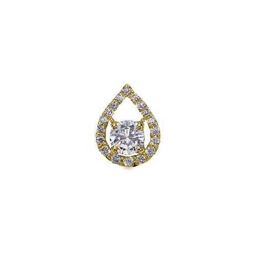ペンダントトップ 18金 イエローゴールド 天然石 ティアドロップラインにメレが並んだ一粒ペンダント 主石の直径約3.0mm 四本爪留め ペンダントヘッドのみ K18YG 18k 貴金属 ジュエリー レディース メンズ