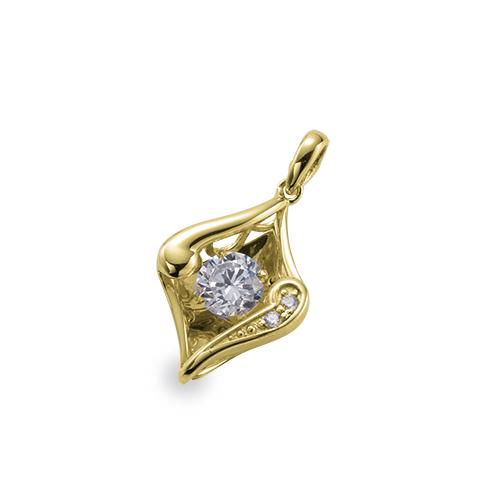 ペンダントトップ 18金 イエローゴールド 天然石 主石が揺れるダイヤ型のメレ付きペンダント 主石の直径約4.4mm ダンシングストーン ペンダントヘッドのみ|K18YG 18k 貴金属 ジュエリー レディース メンズ