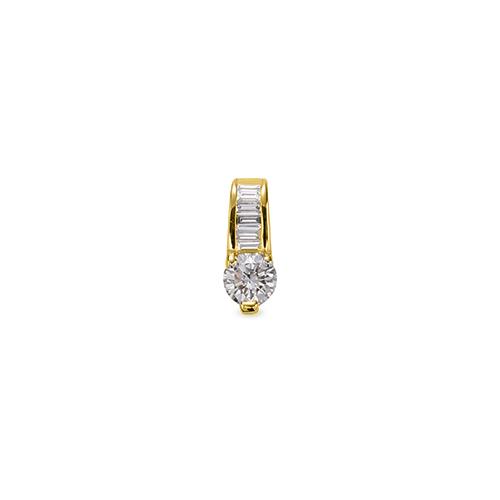 ペンダントトップ 18金 イエローゴールド 天然石 バゲットメレ付きバチカンの一粒ペンダント 主石の直径約5.2mm 三本爪留め ペンダントヘッドのみ|K18YG 18k 貴金属 ジュエリー レディース メンズ