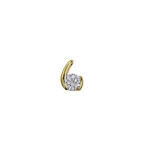 ペンダントトップ 18金 イエローゴールド 天然石 ウェーブモチーフの一粒ペンダント 主石の直径約4.4mm レール留め ペンダントヘッドのみ K18YG 18k 貴金属 ジュエリー レディース メンズ