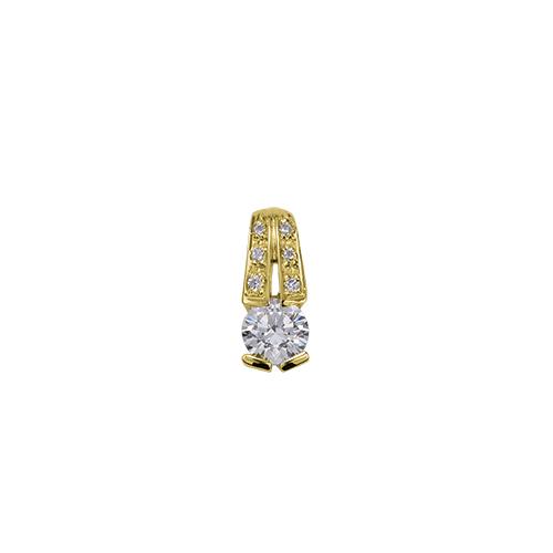 ペンダントトップ 18金 イエローゴールド 天然石 メレ付きバチカンの一粒ペンダント 主石の直径約4.4mm レール留め ペンダントヘッドのみ|K18YG 18k 貴金属 ジュエリー レディース メンズ