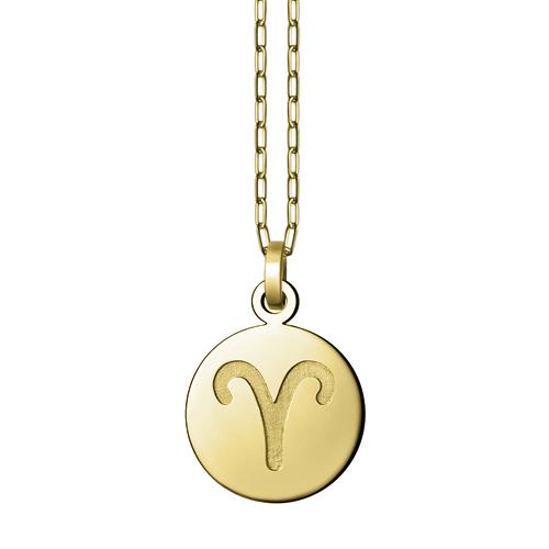ペンダントトップ 18金 イエローゴールド 牡羊座 おひつじ座 彫り込みデザインのラウンド型星座記号ペンダント 直径19.0mm ペンダントヘッドのみ|K18YG 18k 貴金属 ジュエリー レディース メンズ