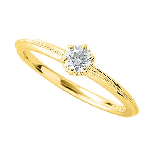 指輪 18金 イエローゴールド 天然石 ミル打ちラインの一粒リング 主石の直径約3.4mm ソリティア 六本爪留め|K18YG 18k 貴金属 ジュエリー レディース メンズ
