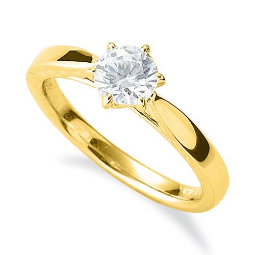 指輪 18金 イエローゴールド 天然石 側面透かし一粒リング 主石の直径約5.2mm ソリティア 平打ち 六本爪留め|K18YG 18k 貴金属 ジュエリー レディース メンズ