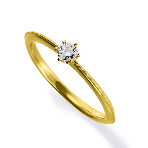 指輪 18金 イエローゴールド 天然石 ミル打ちラインの一粒リング 主石の直径約3.0mm ソリティア 六本爪留め|K18YG 18k 貴金属 ジュエリー レディース メンズ