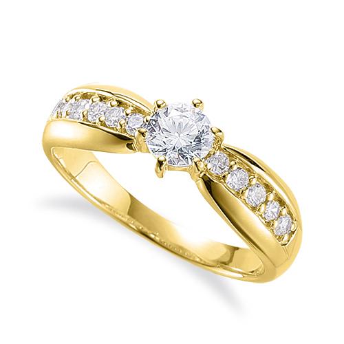 指輪 18金 イエローゴールド 天然石 サイド一文字リング 主石の直径約4.4mm 六本爪留め|K18YG 18k 貴金属 ジュエリー レディース メンズ