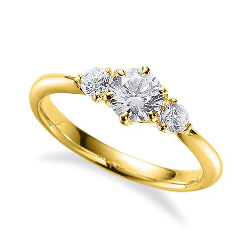 指輪 18金 イエローゴールド 天然石 サイドストーンリング 主石の直径約3.8mm 六本爪留め K18YG 18k 貴金属 ジュエリー レディース メンズ