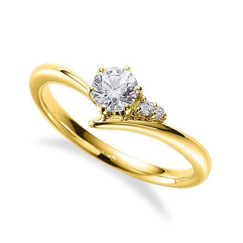 指輪 18金 イエローゴールド 天然石 サイドストーンリング 主石の直径約4.4mm V字 六本爪留め K18YG 18k 貴金属 ジュエリー レディース メンズ