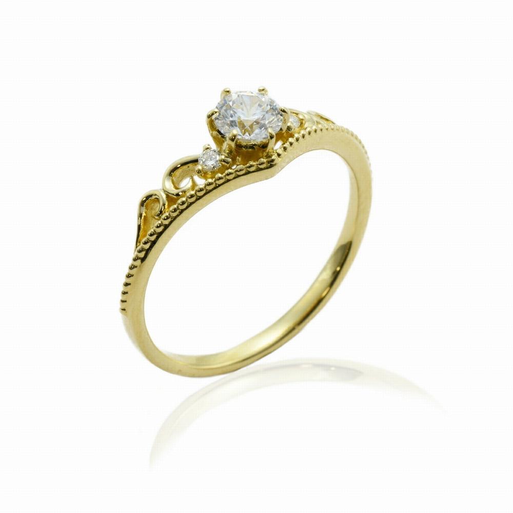 指輪 18金 イエローゴールド 天然石 ティアラモチーフのデザインリング 主石の直径約4.4mm V字 六本爪留め|K18YG 18k 貴金属 ジュエリー レディース メンズ