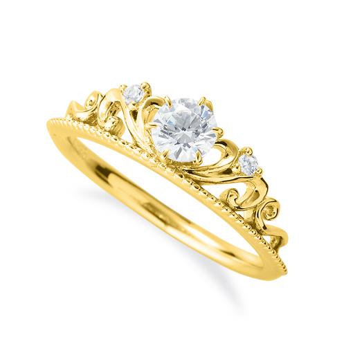 指輪 18金 イエローゴールド 天然石 ティアラモチーフのデザインリング 主石の直径約4.4mm 六本爪留め|K18YG 18k 貴金属 ジュエリー レディース メンズ