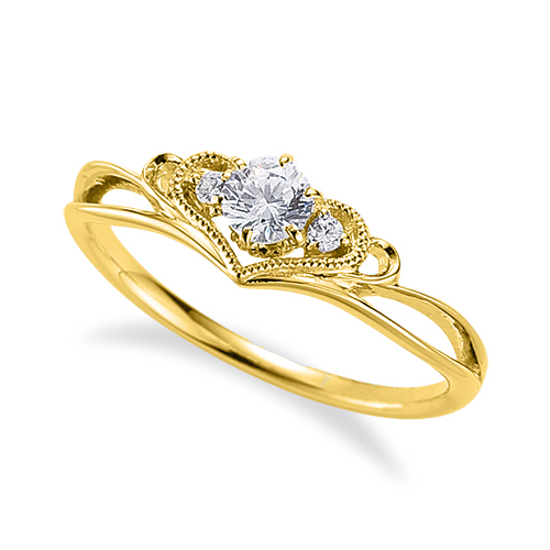 指輪 18金 イエローゴールド 天然石 ティアラモチーフのデザインリング 主石の直径約3.8mm 割り腕 六本爪留め|K18YG 18k 貴金属 ジュエリー レディース メンズ