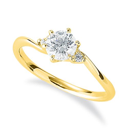 指輪 18金 イエローゴールド 天然石 サイドストーンリング 主石の直径約5.2mm ウェーブ 六本爪留め|K18YG 18k 貴金属 ジュエリー レディース メンズ