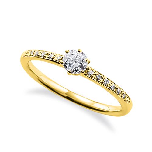 指輪 18金 イエローゴールド 天然石 サイド一文字リング 主石の直径約3.8mm 六本爪留め|K18YG 18k 貴金属 ジュエリー レディース メンズ