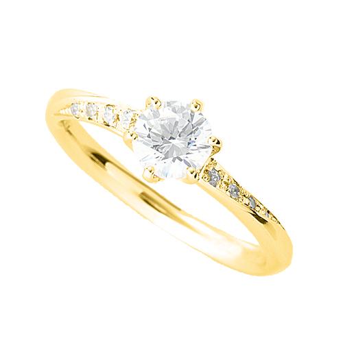 指輪 18金 イエローゴールド 天然石 サイド一文字リング 主石の直径約5.2mm ウェーブ 六本爪留め K18YG 18k 貴金属 ジュエリー レディース メンズ
