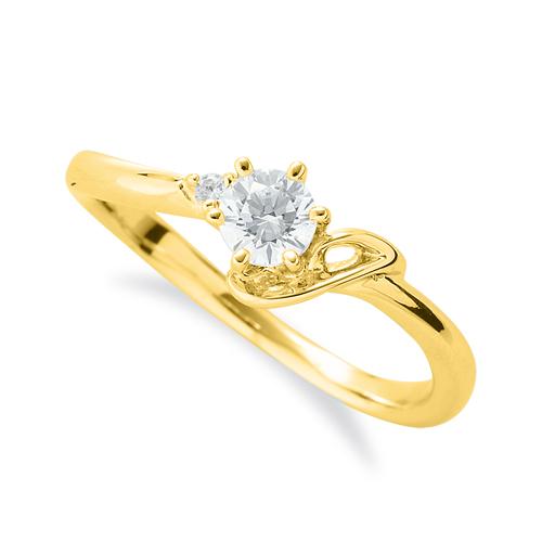 指輪 18金 イエローゴールド 天然石 J イニシャルモチーフのサイドストーンリング 主石の直径約3.8mm ウェーブ 六本爪留め|K18YG 18k 貴金属 ジュエリー レディース メンズ