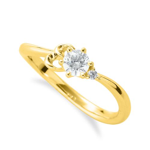 指輪 18金 イエローゴールド 天然石 E イニシャルモチーフのサイドストーンリング 主石の直径約3.8mm ウェーブ 六本爪留め|K18YG 18k 貴金属 ジュエリー レディース メンズ