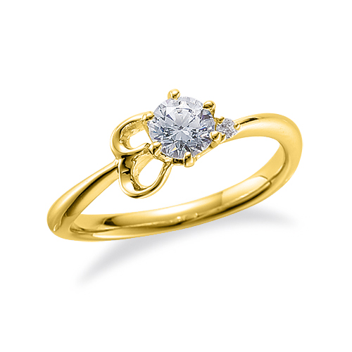 指輪 18金 イエローゴールド 天然石 E イニシャルモチーフのサイドストーンリング 主石の直径約4.4mm ウェーブ 六本爪留め|K18YG 18k 貴金属 ジュエリー レディース メンズ