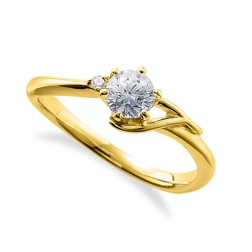 指輪 18金 イエローゴールド 天然石 T イニシャルモチーフのサイドストーンリング 主石の直径約4.4mm ウェーブ 六本爪留め|K18YG 18k 貴金属 ジュエリー レディース メンズ