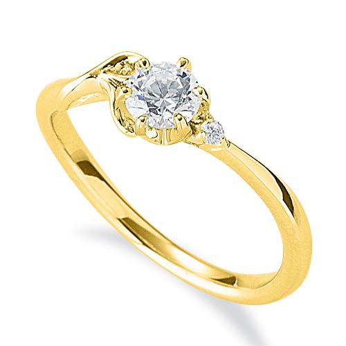 指輪 18金 イエローゴールド 天然石 R イニシャルモチーフのサイドストーンリング 主石の直径約4.4mm ウェーブ 六本爪留め|K18YG 18k 貴金属 ジュエリー レディース メンズ