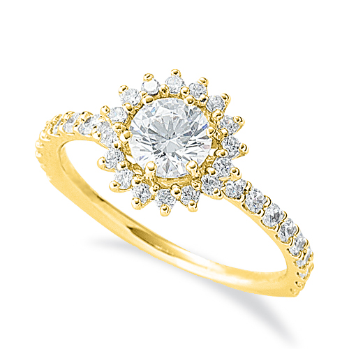 指輪 18金 イエローゴールド 天然石 花モチーフの取り巻きリング 主石の直径約5.2mm 六本爪留め|K18YG 18k 貴金属 ジュエリー レディース メンズ