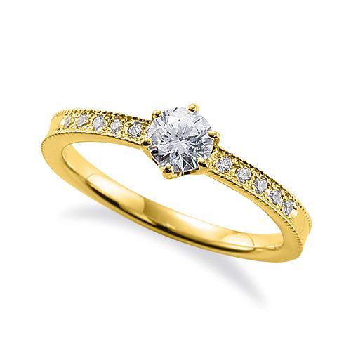 指輪 18金 イエローゴールド 天然石 両端ミル打ちのサイド一文字リング 主石の直径約4.4mm 六本爪留め|K18YG 18k 貴金属 ジュエリー レディース メンズ