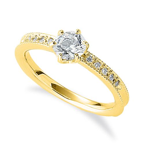指輪 18金 イエローゴールド 天然石 両端ミル打ちのサイド一文字リング 主石の直径約5.2mm 六本爪留め|K18YG 18k 貴金属 ジュエリー レディース メンズ