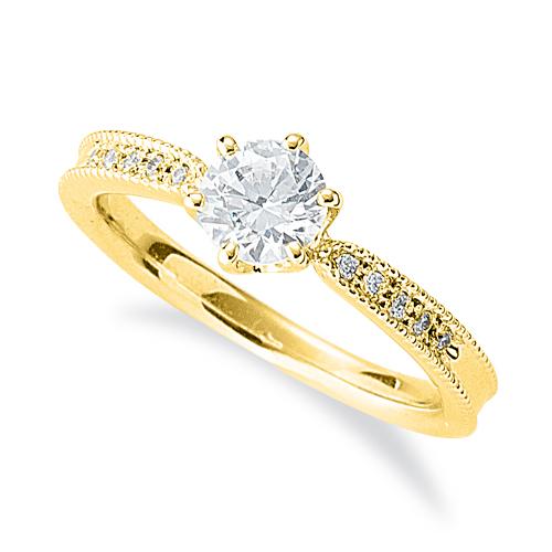 指輪 18金 イエローゴールド 天然石 両端ミル打ちのサイド一文字リング 主石の直径約5.2mm しぼり腕 六本爪留め|K18YG 18k 貴金属 ジュエリー レディース メンズ