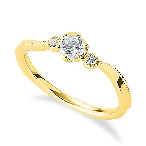 指輪 18金 イエローゴールド 天然石 ミル打ちラインのサイドストーンリング 主石の直径約3.8mm ウェーブ 六本爪留め|K18YG 18k 貴金属 ジュエリー レディース メンズ
