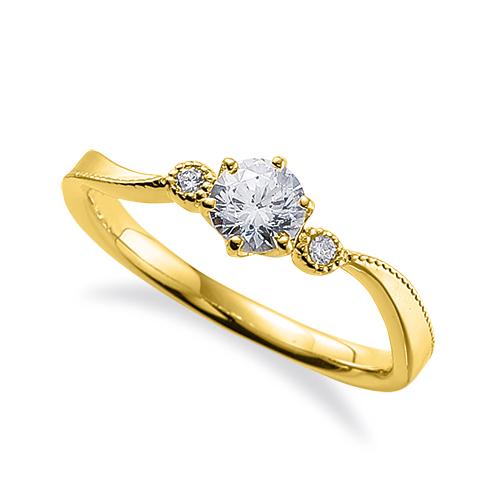 指輪 18金 イエローゴールド 天然石 ミル打ちラインのサイドストーンリング 主石の直径約4.4mm ウェーブ 六本爪留め|K18YG 18k 貴金属 ジュエリー レディース メンズ