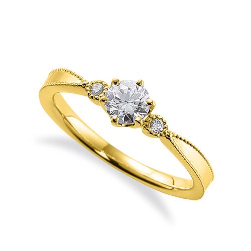 指輪 18金 イエローゴールド 天然石 ミル打ちラインのサイドストーンリング 主石の直径約4.4mm 六本爪留め|K18YG 18k 貴金属 ジュエリー レディース メンズ
