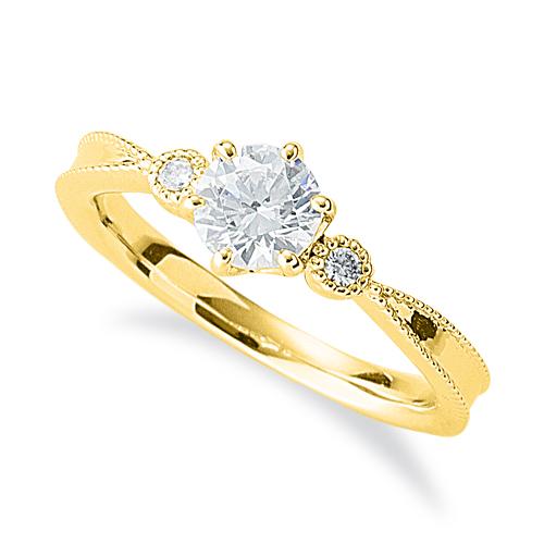 指輪 18金 イエローゴールド 天然石 ミル打ちラインのサイドストーンリング 主石の直径約5.2mm 六本爪留め|K18YG 18k 貴金属 ジュエリー レディース メンズ