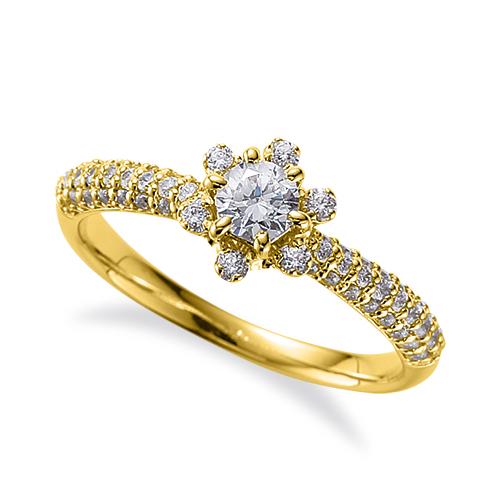 指輪 18金 イエローゴールド 天然石 花モチーフのサイドパヴェリング 主石の直径約3.8mm 六本爪留め|K18YG 18k 貴金属 ジュエリー レディース メンズ